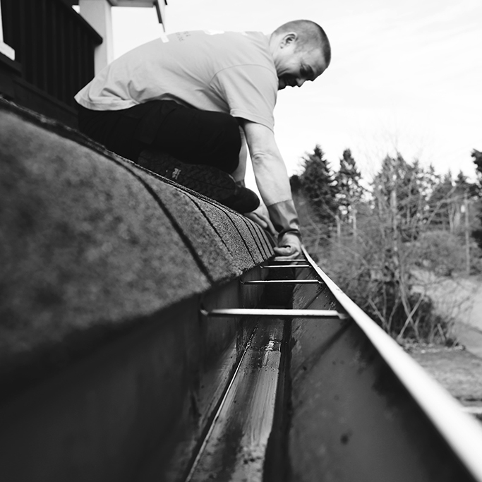 Gutter cleaning bw